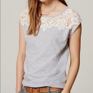 Loft xl gray white lace blouse shirt yoke tee